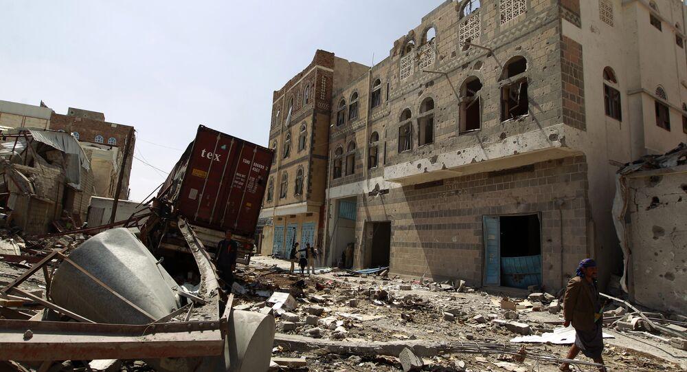 Sanaa após bombardeio da noite de 27 de outubro