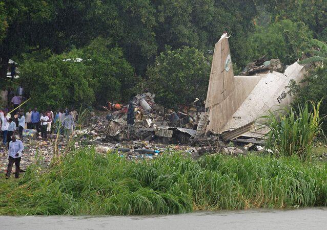 Local da queda do avião de carga An-12 no Sudão do Sul