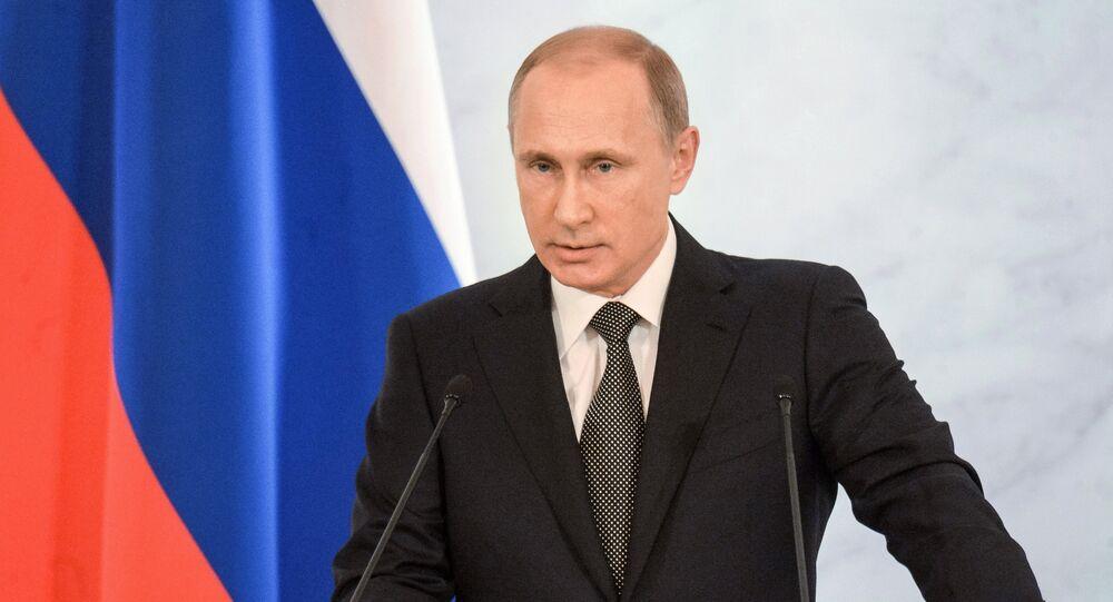 Presidente russo Vladimir Putin está discursando perante a Assambleia Federal da Federação da Rússia, Kremlin, Moscou, 4 de dezembro de 2014