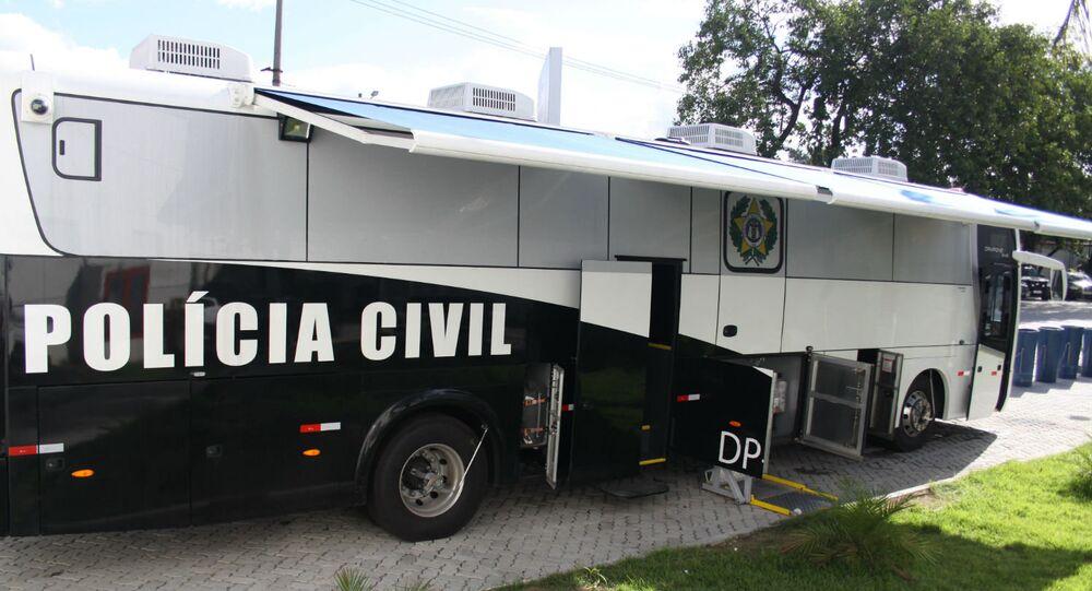 Delegacia móvel da Polícia Civil do Estado do Rio de Janeiro, instituição que está entre as participantes da operação Luz na Infância