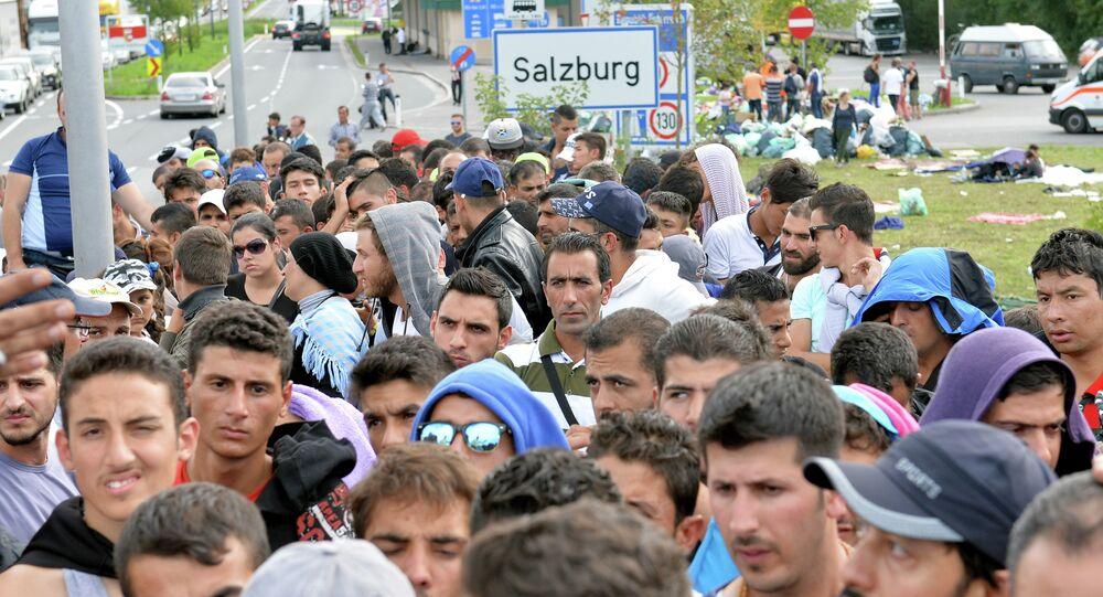 Refugiados em Salzburgo, Áustria, em 17 de setembro de 2015