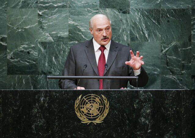 O presidente da Bielorrússia, Aleksandr Lukashenko, durante a sua intervenção na Assambleia Geral da ONU