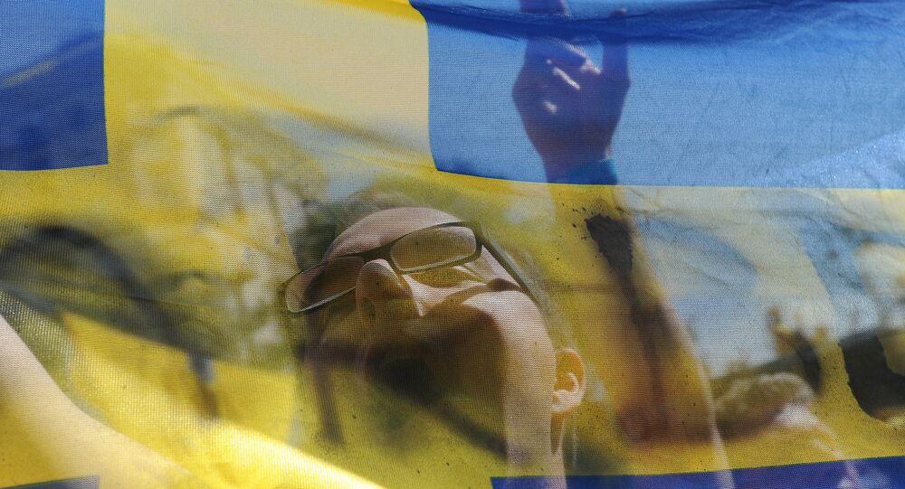 Torcedores suecas em Kiev antes do jogo Ucrânia-Suécia. Foto de arquivo.