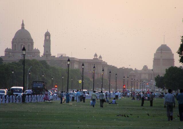 Vista do parque em Nova Delhi, Índia