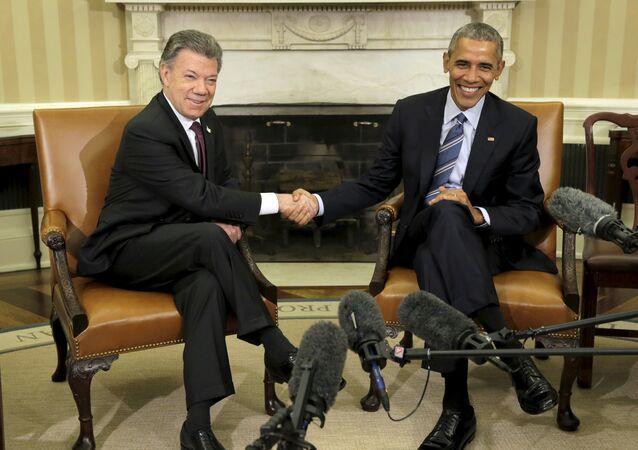 Presidente da Colômbia, Juan Manuel Santos, e presidente dos EUA, Barack Obama