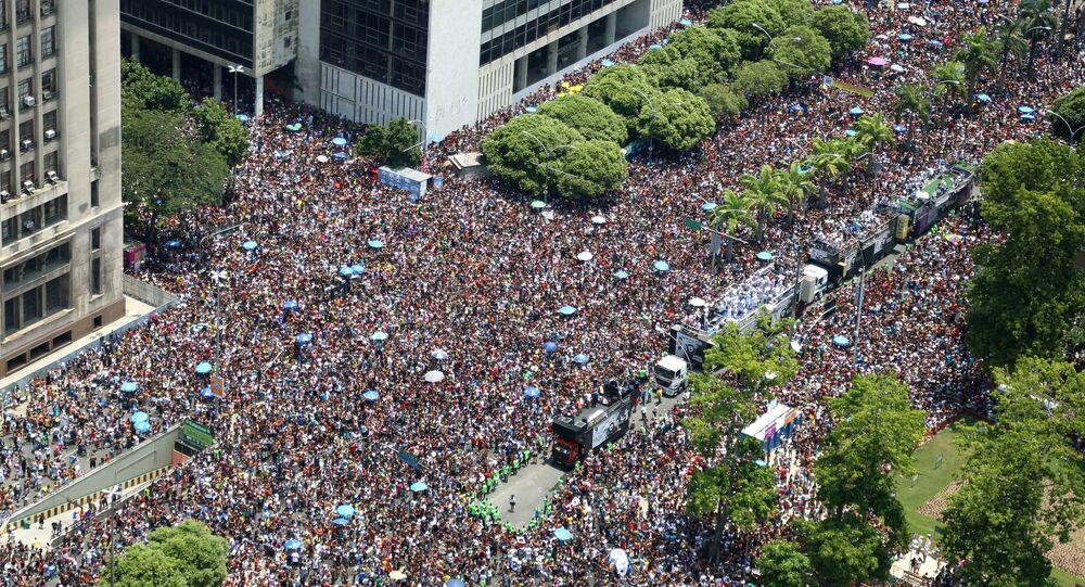 Bloco Cordão da Bola Preta no Carnaval do Rio de Janeiro, em 6 de fevereiro de 2016