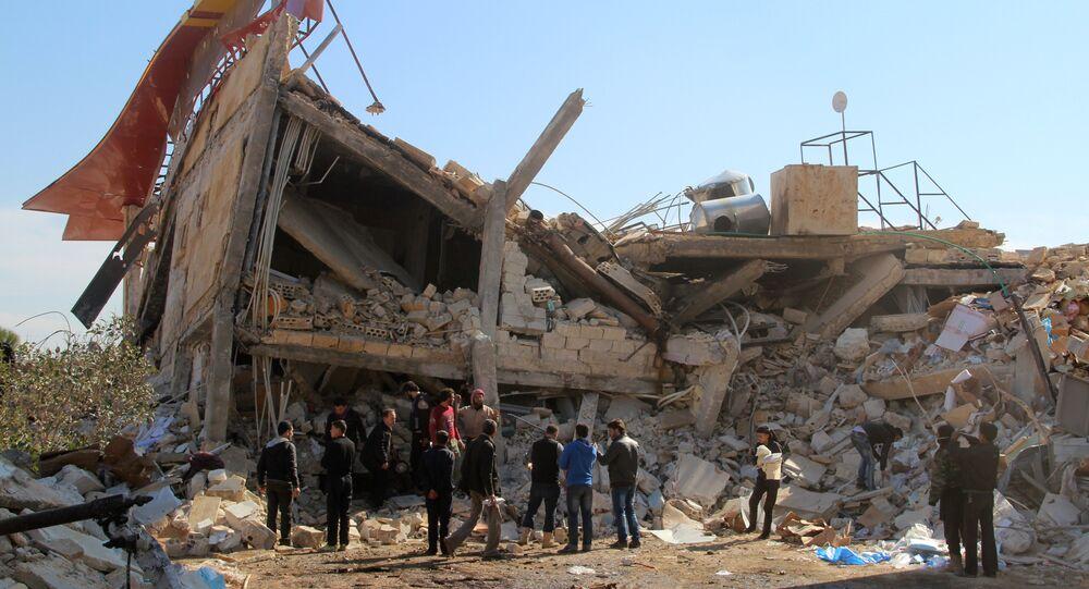 Ruínas do hospital apoiado pela ogranização Médicos Sem Fronteiras, destruído em 15 de fevereiro, província de Idlib, Maaret al-Nuuman, Síria