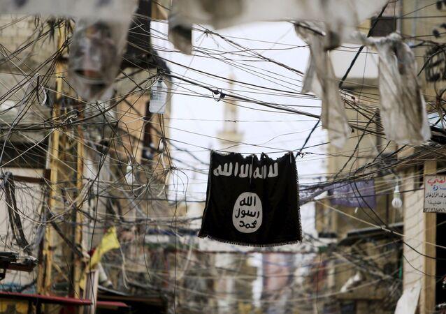 Bandeira do grupo terrorista Daesh (proibido na Rússia e em outros países)
