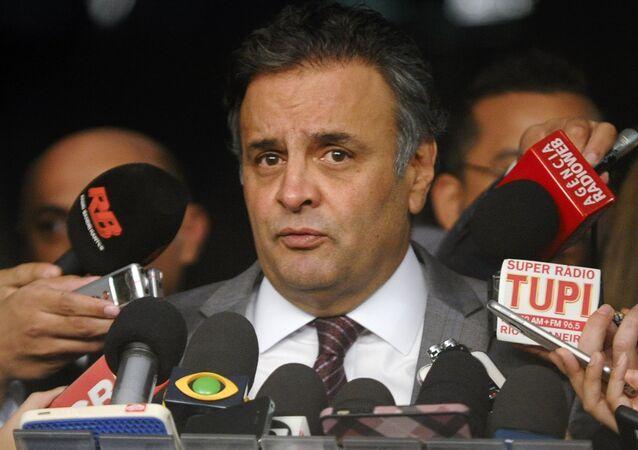 Aécio Neves, citado nas gravações das conversas entre Romero Jucá e Sérgio Machado como o primeiro a ser comido caso a Lava-Jato prosseguisse