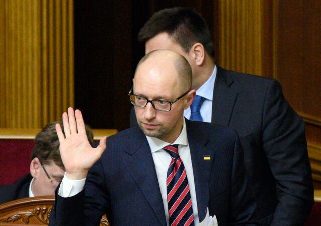 O primeiro-ministro da Ucrânia Arseny Yatsenyuk na sessão da Suprema Rada em Kiev, Ucrânia, 23 de fevereiro de 2016