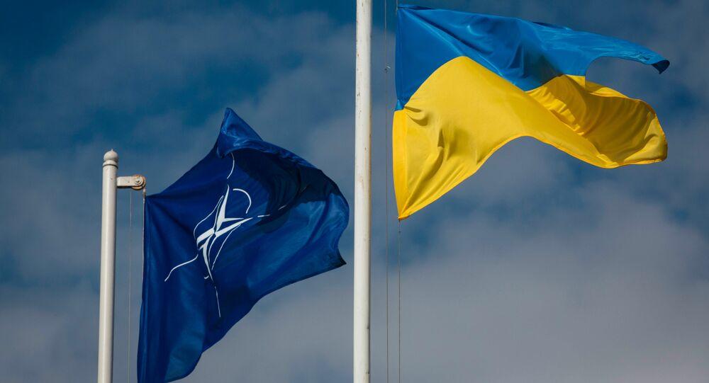 Bandeiras da OTAN e da Ucrânia