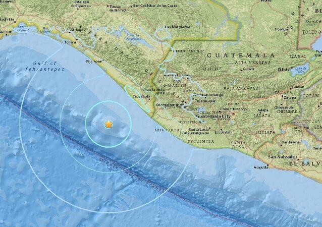 Epicentro do terremoto registrado na costa do México em 25 de abril de 2016