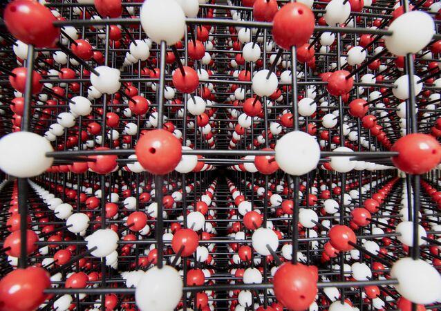 Modelo de estrutura de cristal, registrado como maior do mundo no Livro de Recordes do Guinness