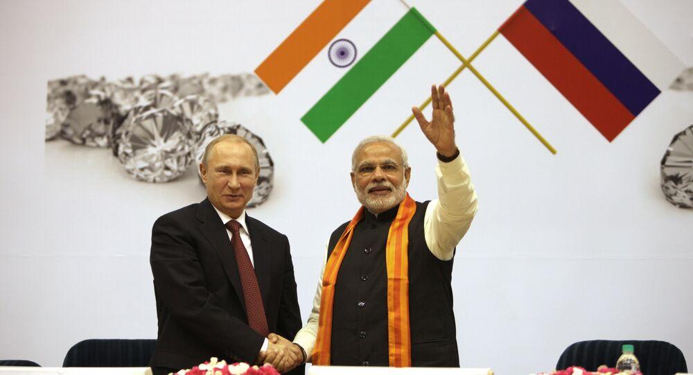 O presidente da Rússia Vladimir Putin e o primeiro ministro da India Narendra Modi