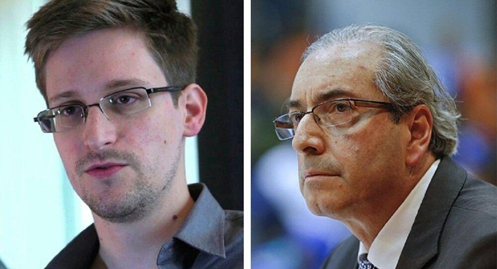 Edward Snowden e Eduardo Cunha (montagem)