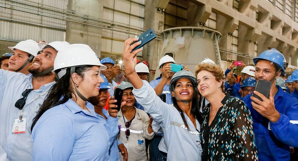 Presidenta Dilma Rousseff durante inauguração da Usina Hidrelétrica de Belo Monte