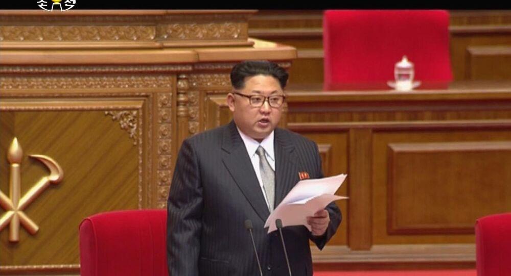 Kim Jong-un no Congresso em 6 de maio, 2016