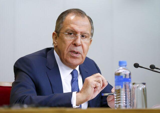 Ministro das Relações Estrangeiras Sergei Lavrov durante uma conferência em Moscou em 26 de janeiro, 2016