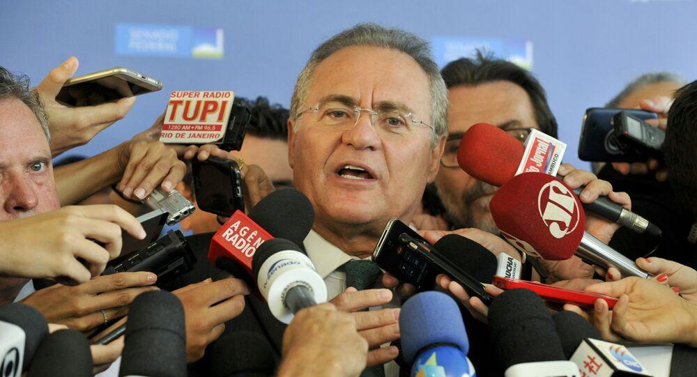 Presidente do Senado Federal senador Renan Calheiros (PMDB-AL) concede entrevista coletiva