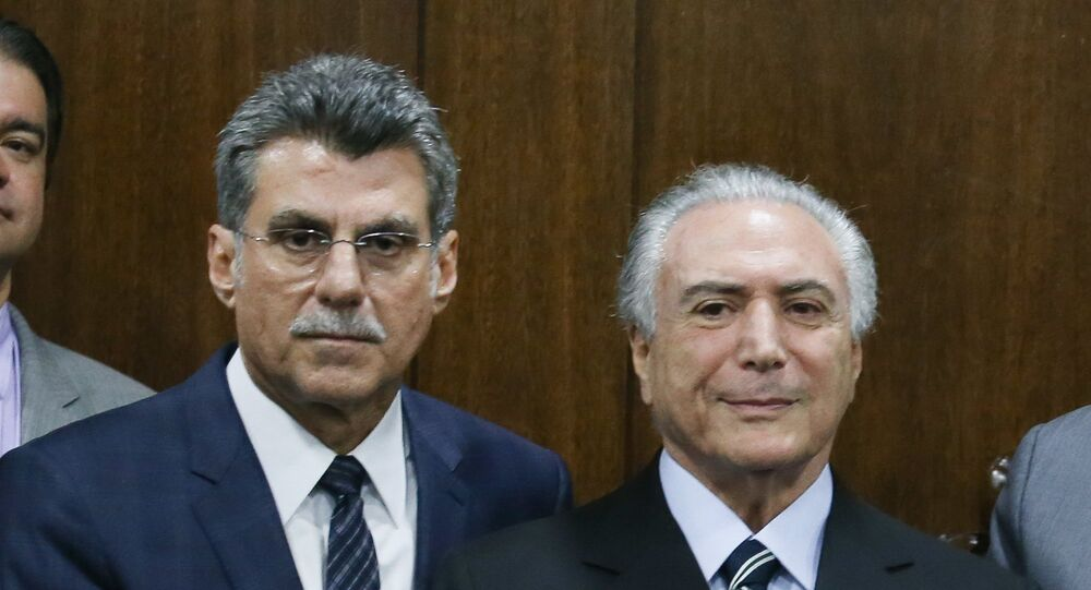 Ministro do Planejamento Romero Jucá e presidente interino Michel Temer