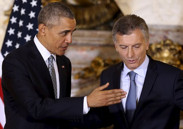 Presidente dos EUA, Barack Obama, em visita a Buenos Aires, ao lado do presidente da Argentina, Mauricio Macri