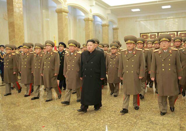 Líder norte-coreano Kim Jong Un em Pyongyang (dezembro de 2015)