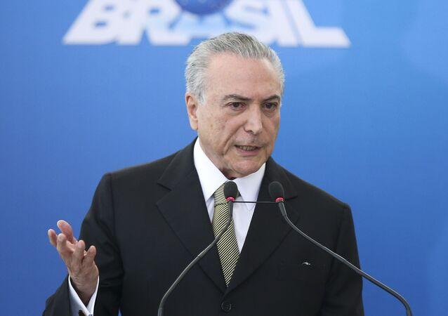 Michel Temer durante posse de diretorias do BNDES, Petrobras, Caixa Econômica e IPEA (arquivo)