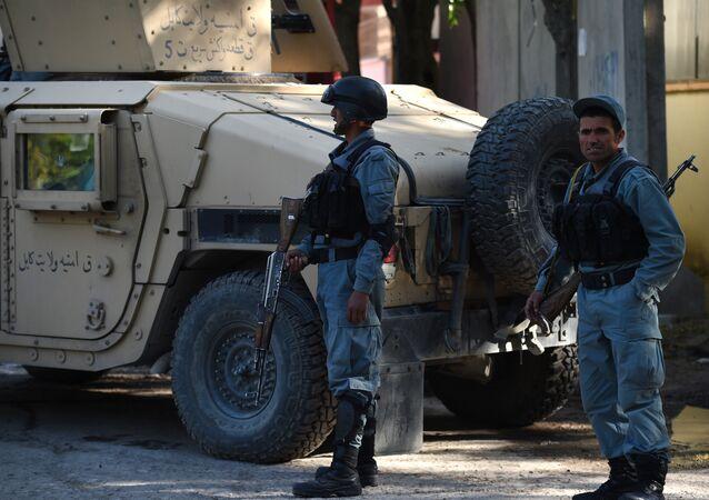 Agentes de polícia do Afeganistão durante serviço (arquivo)