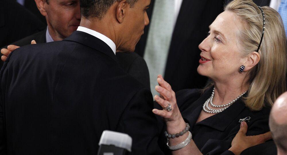 Ex-secretária de Estado dos EUA Hilary Clinton e presidente dos EUA Barack Obama