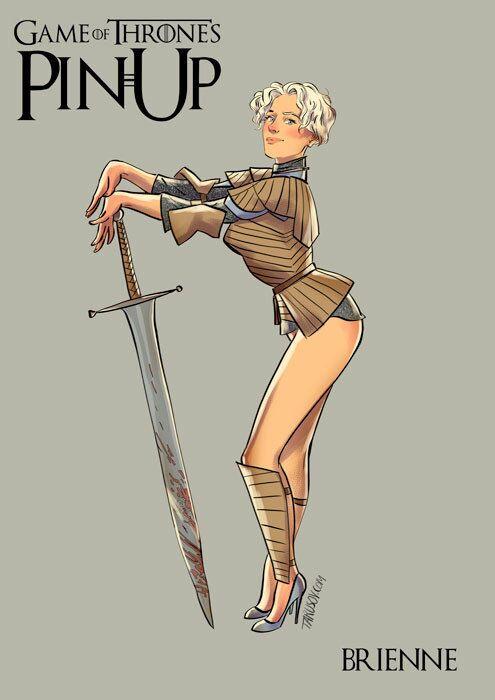 Personagens da Guerra dos Tronos em estilo pin-up