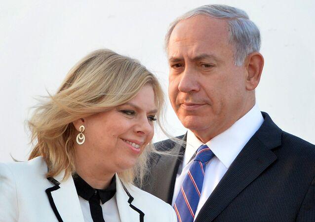 Benjamin Netanyahu com a sua esposa Sara