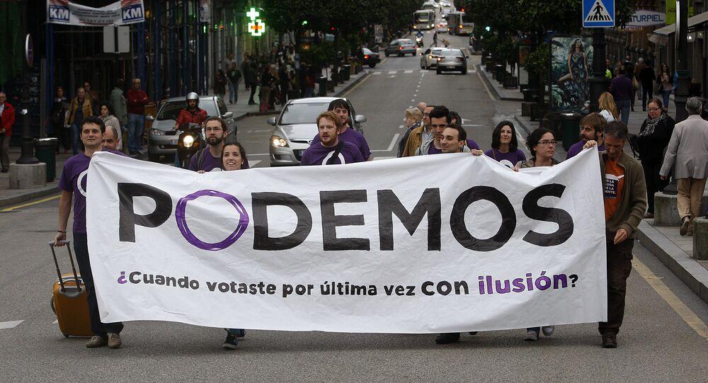 Podemos, um partido político espanhol de esquerda fundado em 2014