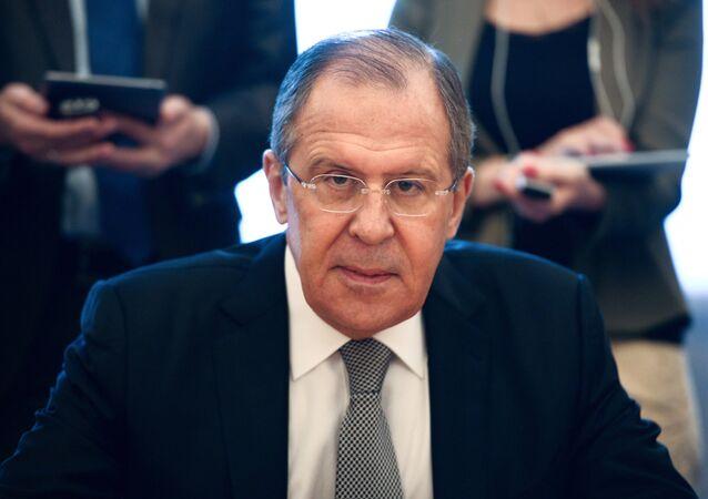 O ministro de Relações Exteriores russo Sergei Lavrov durante o encontro com a Federação Mundial de Câmaras Comerciais, Moscou, Rússia, 22 de junho de 2016