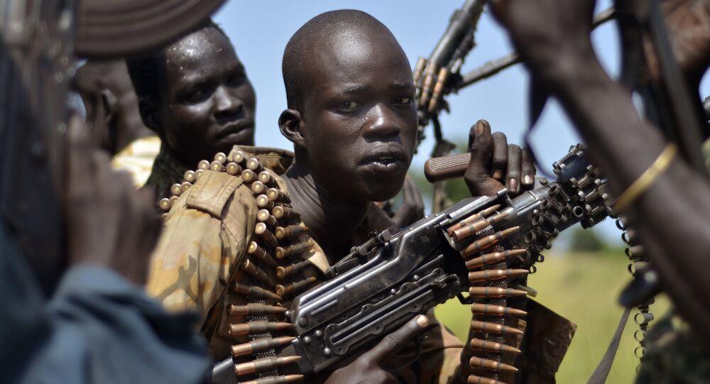 Soldados governamentais do Sudão do Sul na cidade de Koch