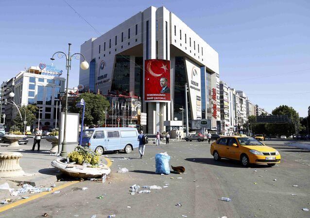 Retrato de Recep Tayyip Erdogan, presidente da Turquia, em Ancara