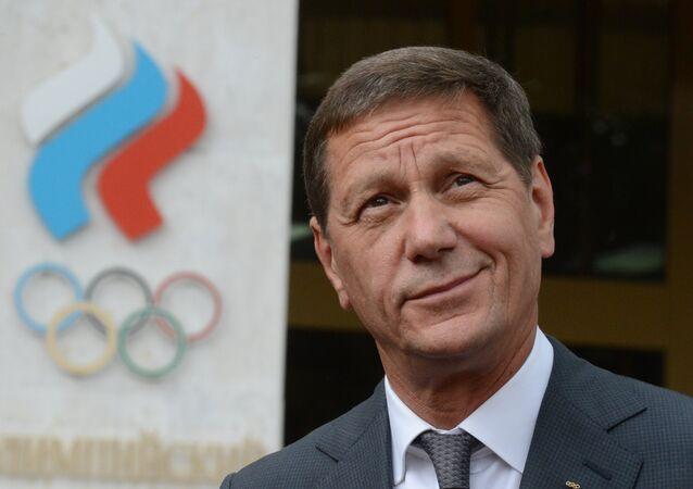 Aleksandr Zhukov, presidente do Executivo do Comitê Olímpico da Rússia, após uma sessão em Moscou
