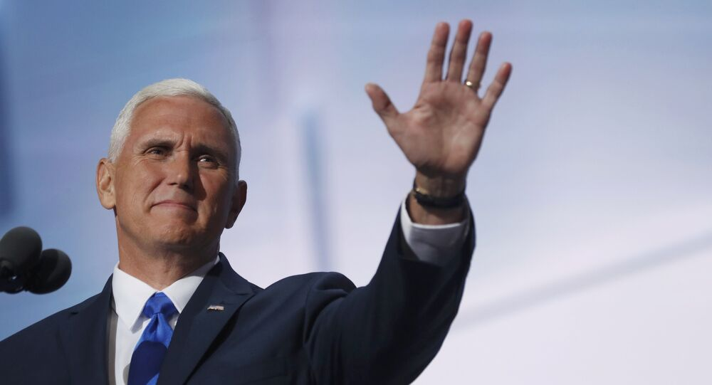 Mike Pence, candidato para vice-presidência pelo Partido Republicano, no congresso republicano em Cleveland, 20 de julho,2016