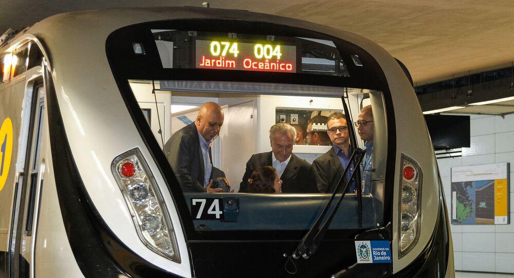 Pezão e Temer na inauguração da Linha 4 do Metrô Rio