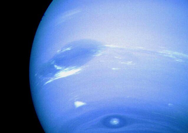 Netuno, a imagem foi feita pela nave robótica da NASA Voyager 2