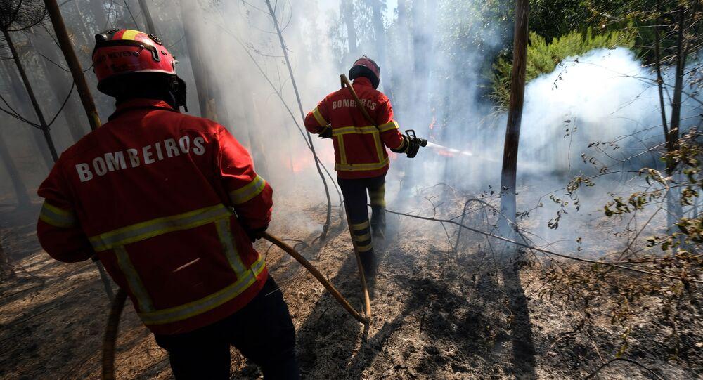 Bombeiros controlam incêndio na Ilha da Madeira, em Portugal