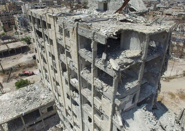 Um edifício residencial em Aleppo
