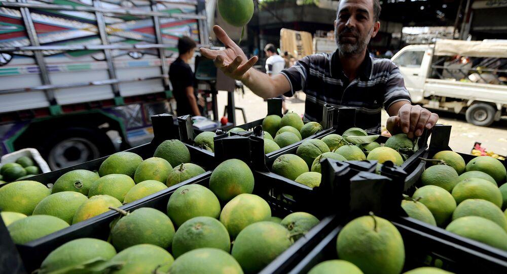 Mercado de frutas e legumes em Damasco, Síria