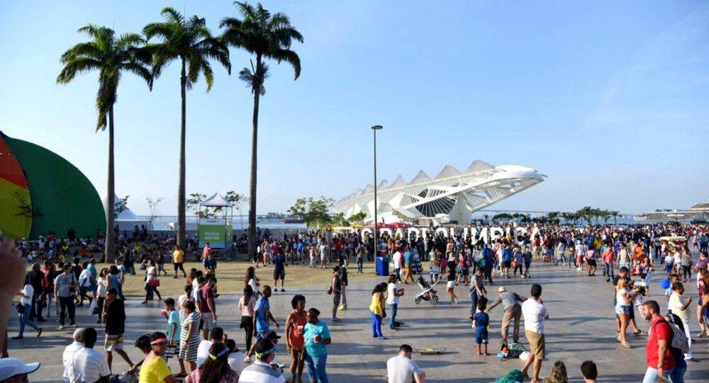 Boulevard Olímpico um dos principais locais turísticos durante os Jogos Olímpicos no Rio, que atraiu minlhares de visitantes