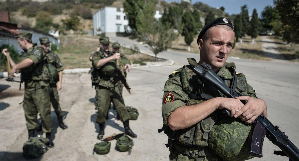 Fuzileiros navais russos em Sevastopol