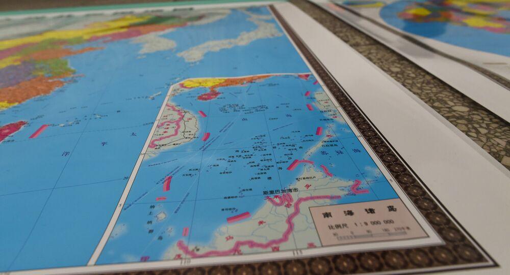 Imagem do mapa que mostra ilhas disputadas no mar do Sul da China, Pequim, China