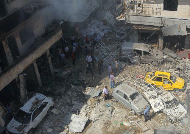 Ataque aéreo em Idlib, na Síria (arquivo)