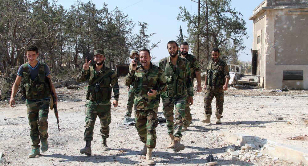 Soldados do Exército Sírio em área de Aleppo libertada dos terroristas, em 5 de setembro de 2016