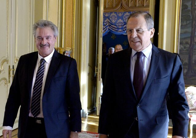 Lavrov com o chanceler de Luxemburgo, Jean Asselborn