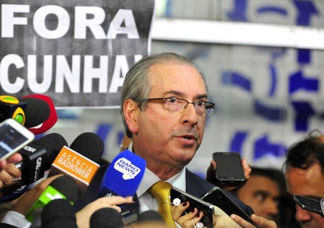 Eduardo Cunha dá coletiva à imprensa após ter o mandato cassado na Câmara