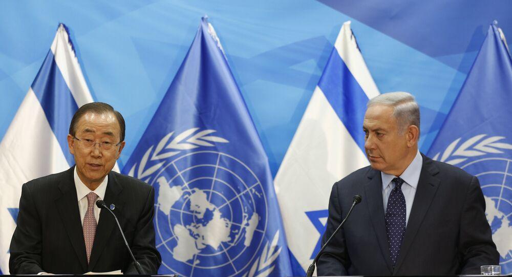 Ban Ki-moon com Benjamin Netanyahu durante uma reunião em Jerusalém em 28 de junho de 2016
